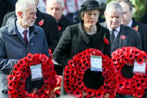 Jeremy Corbyn and Theresa May at the Cenotaph memorial in Whitehall