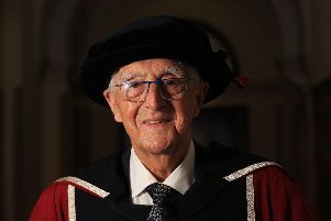 Michael Parkinson receiving an honorary doctorate from Sheffield Hallam University at Sheffield City Hall. Picture: Chris Etchells
