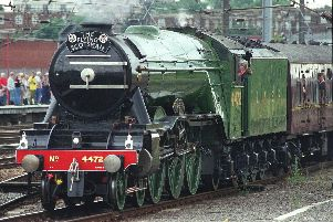 The Flying Scotsman locomotive steaming in to Doncaster where it was built in 1923.