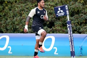 England's Manu Tuilagi during the training session at Pennyhill Park, Bagshot. (Picture: Andrew Matthews/PA Wire)