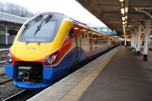 A train heading to London from Sheffield train station. The Midland Main Line is the only north-south rail route that is not electrified.