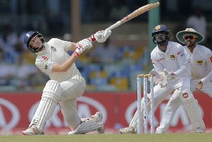 England's Joe Root watches his shot during the first day of the third test cricket match between Sri Lanka and England. he has matured during the duration of the series, according to Darren Gough. (AP Photo/Eranga Jayawardena)