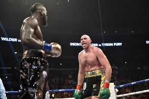 Tyson Fury taunts Deontay Wilder during their recent world heavyweight title bout at the Staples Center in Los Angeles. Picture: Lionel Hahn/PA