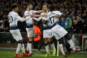 Tottenham Hotspur's Christian Eriksen celebrates scoring his side's winning goal in their Group B clash against Inter Milan at Wembley. Picture: Nick Potts/PA.
