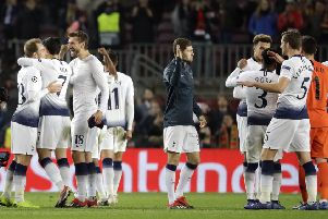 Tottenham players celebrate after their 1-1 draw with Barcelona at the Niou Camp. Picture: AP/Emilio Morenatti