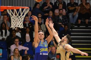 Mike Tuck in action for Sheffield Sharks against Glasgow Rocks on October 19 at EIS Sheffield. Picture: Bruce Rollinson