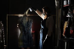 Feature on Costume department for the production of Scrooge at The Leeds Playhouse..Rachel Hodgson sprays the chains of Marleys Ghost.12th November 2018 ..Picture by Simon Hulme