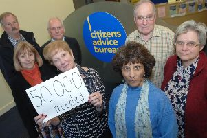 CAB funding cuts Members of The Harrogate and District Citizens Advice Bureau  Andrew Phair, Malcolm Wailes, Sandra Jowett, Pat Shore, Kali Case-Leng, Simon Grenfell and Erica Cadbury (CEO) who are concerned about funding cuts.