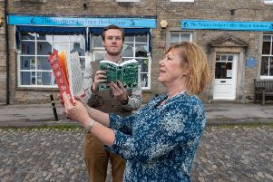 Owners of Grassington's Stripey Badger bookshop James Firth, with his mum Linda Furniss.