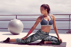 Shock Absorber's new collection: Leggings with mesh panelling (�45); the Active Zipped Plunge Bra has a zipped front for added convenience - perfect for floor activities such as yoga. Added comfort is provided by moisture wicking to keep you dry and the temperature controlled (�32).'Shock Absorber is available from Next, ASOS, John Lewis and Very.