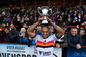 Jake Webster, of Bradford Bulls, celebrating their win in front of the travelling fans.