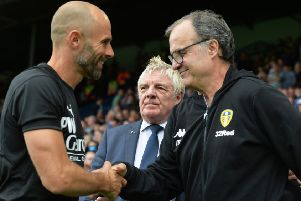 WE MEET AGAIN: Paul Warne, left and Marcelo Bielsa, skae hands at Elland Road earlier this season and meet again today in South Yorkshire. Picture: Bruce Rollinson