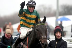 Buveur D'Air and Barry Geragthy after last December's Fighting Fifth Hurdle win at Newcastle.