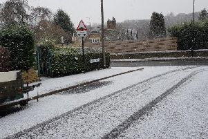 Snow fell and settled in Sheffield on Friday