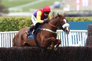 Champion jockey Richard Johnson and Native River clear the final fence in last year's Gold Cup.
