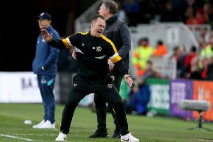 Newport County manager Michael Flynn reacts after a missed chance in the 1-1 draw with Middlesbrough (Picture: Richard Sellers/PA Wire).