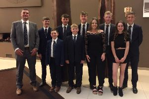 Huddersfield Golf Club junior Organiser Stuart Henbest with his team, back row l-r, Dylan Shaw Radford, Ben Walker, James Edwards,Dominic Hughes, Louie Walsh, and, front row l-r, Daniel Henbest, Oliver Hughes, Jess Hosking and Brighdy Connors.