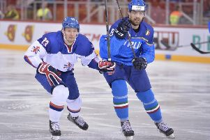 Sheffield Steelers' Davey Phillips in action for Great Britain against Italy
