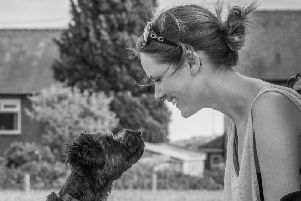 Chewiee with owner Beccy Sinclair. Picture: David Whitehead Images
