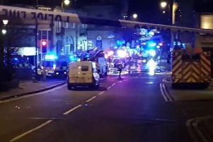 A huge police and fire cordon is in place in Batley after the gas explosion. Photo: Baz Bunn