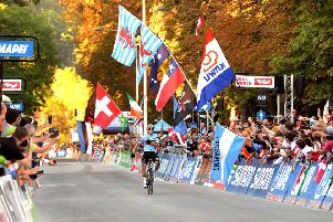 Name to watch in the future: Remco Evanepoel wins the Junior Mens World Chamnpionship Road Race in Innsbruck.'27 September 2018.  (Picture: Bruce Rollinson)