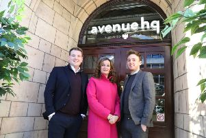 Open: From left, Matthew Kennedy, CEO of Avenue HQ, Caroline Pullich,  Barclays, and Luke Roberts, operations director at Avenue HQ.