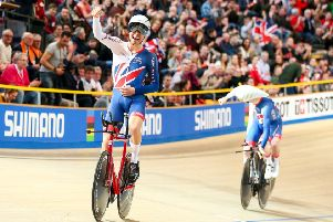 Charlie Tanfield (L) and Ed Clancy (R) of Great Britain celebrate winning Gold in the Men's Team Pursuit final at the 2018 Track World Championships. (Picture: SWPix.com)