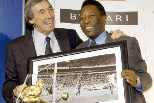 Gordon Banks with Pele and a picture of his famous save