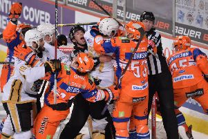CALM DOWN, CALM DOWN: Steelers and Panthers players get to grips with each other during their Sheffield Arena encounter on December 27. The hosts won 5-3. Picture: Dean Woolley.