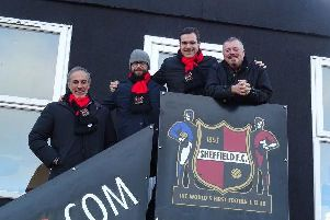 Sheffield FC chairman Richard Tims (right) with members of the club's new investment partner LSG Sports, Saverio Marchi, Marco Fabbricini and Patrick Leoni Sceti