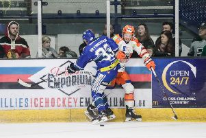 PINNED DOWN: Sheffield Steelers' Rob Dowd, right, finds himself hemmed in by Coventry Blaze's Nicolai Bryhnisveen during last night's Elite League clash at the SkyDome Arena. Picture: Scott Wiggins/EIHL.