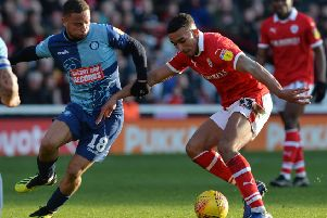 Jacob Brown in action for Barnsley against Wycombe Wanderers (Picture: Bruce Rollinson)