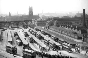 Leeds, 22nd April 1944''Bus station view from Quarry Hill flats.