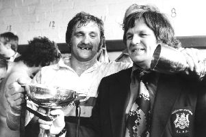 Peter Fox, right, pictured with Bob Haigh after Bradford Northern won the Rugby League Premiership Trophy in 1978.