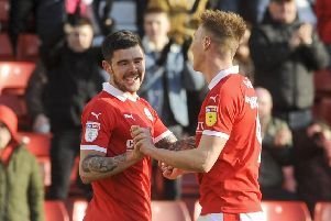 Barnsley's Alex Mowatt celebrates after scoring the second goal. Picture: Dean Atkins