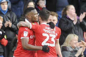 On target: 'Barnsley's Dimitri Cavare is congratulated after scoring the opener.