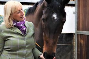 Owner Jayne Sivills with Cheltenham contender Lady Buttons.