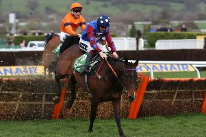 Paisley Park clears the last from Sam Spinner in the Stayers' Hurdle.
