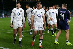 England's George Ford looks dejected after the dramatic 38-38 draw with Scotland.