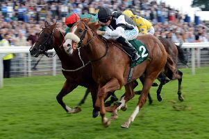Phillip Makin, nearest camera, seen riding Blaine to victory in the Irish Thoroughbred Marketing Gimcrack Stakes at the 2012 Ebor Festival at York (Picture: John Giles/PA Wire).