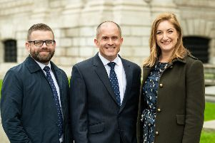 Pictured (L to R) are: SRLV Financial LLP financial adviser, Chris Reed; TPO chief executive officer, Stuart Phillips and SRLV Financial LLP, financial adviser, Claire Menni. Picture: James Gifford-Mead