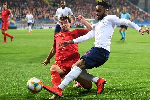 Danny Rose in action against Montenegro. (Photo by Michael Regan/Getty Images)