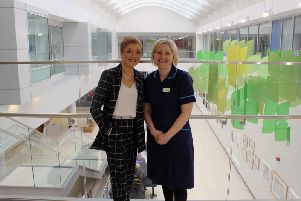 Jacqui Drake and Alyson Beckett at the Leeds Cancer Centre.