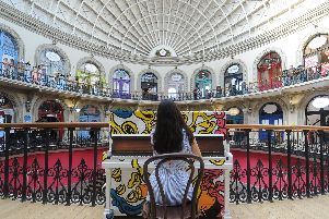 International young scholars including  Aliya Alsafa from the Lang Lang International Music Foundation Piano Day 2019 play at the Leeds Corn Exchange