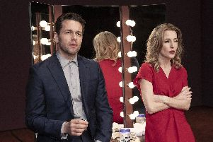 Julian Ovenden as Bill Sampson and Gillian Anderson as Margo Channing in All About Eve, which is being broadcast live to cinemas from the West End on April 11. Picture: Jan Versweyveld