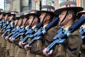 Ghurka's from 2 Signal Regiment line up  near York Minster  for the  freedom of the City ceremony.