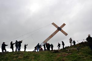 The Easter Cross is erected at Suprise View, Otley Chevin.'Picture Gerard Binks