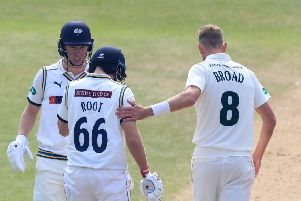 Nottinghamshire's Stuart Broad taps his England Test captain Joe Root on the arm after hitting the Yorkshire batsman on the helmet. Gary Ballance, who looks a little more concerned, scored 101no and Root 130no as the two sides drew at Trent Bridge (Picture: Simon Cooper/PA Wire).