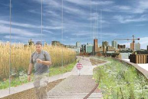 An artist's vision of how the Holbeck Viaduct 'skyline' route would look