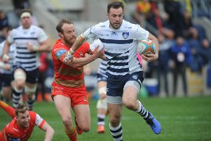 Andy Forsyth runs through to score for Yorkshire Carnegie in their final game before it was announced they would be going part-time next season (Picture: Steve Riding).